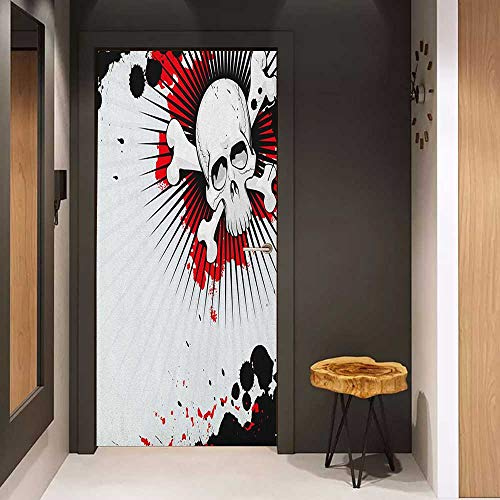 Onefzc Front Door Sticker Halloween Skull with Crossed Bones Over Grunge Background Evil Scary Horror Graphic for Home Decor W35.4 x H78.7 Pearl Red -