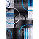 "Ladole Rugs ANS10915 Adonis Collection Geometric Black Grey Blue Polypropylene Area Rug Carpet, 7x10 (6'5"" x 9'5"", 200cm x 290cm), 6'5"" x 9'5"" (200cm x 290cm), Black/Grey/Blue"