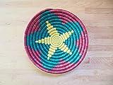 Small African Basket / Rwanda Basket / Woven Bowl / Sisal & Sweetgrass Basket / Americana Red, Green, Yellow