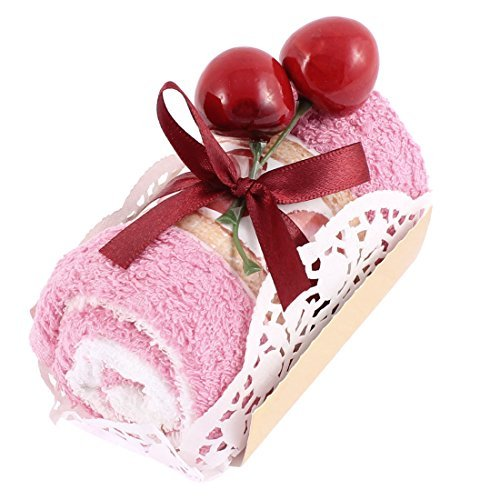 EbuyChX Roll Cake Design Cherry Decor Wedding Party Regalo Hand Towel Pink (Roll Pista)