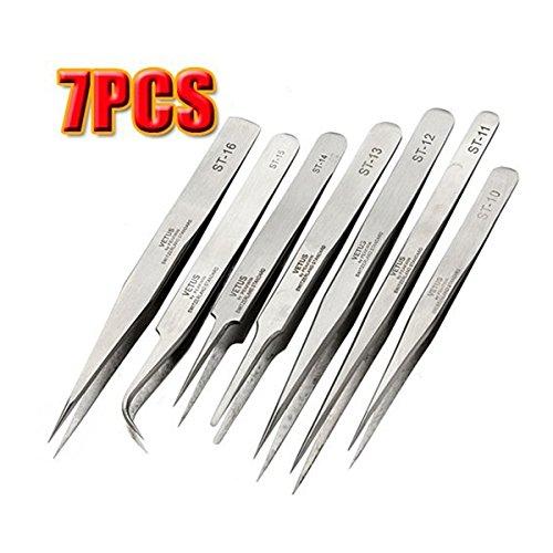 OULII Stainless Steel Antistatic Tweezers Set BGA Precision Tweezers Pack of 7pcs