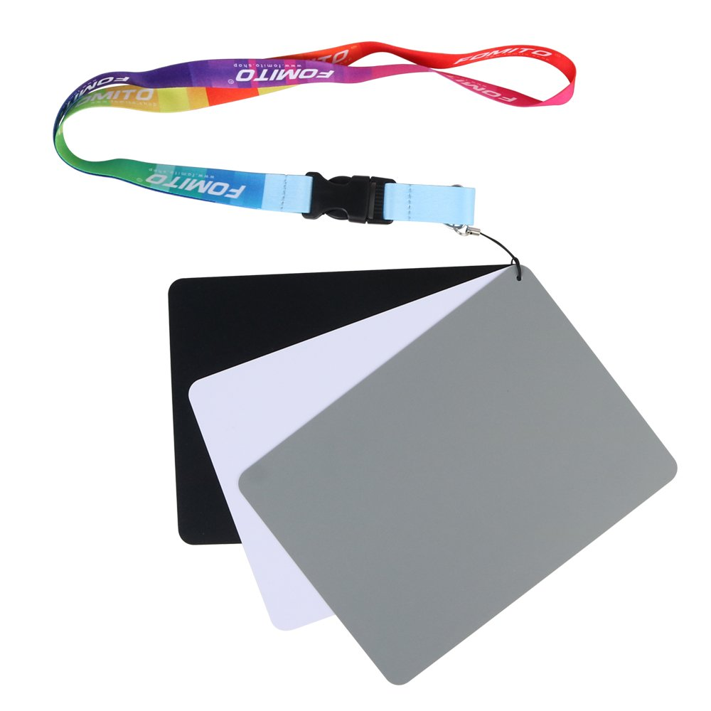 White Balance Gray Card 18% Grey Card - Fomito FMTHKL Waterproof Custom Calibration Camera Checker Cards, Use for Video DSLR Digital Photography and Film Size 7.5 x 5.5 inches (19 x 14cm)