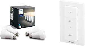 Philips Hue White 4-Pack A19 LED Smart Bulb, Bluetooth & Zigbee Compatible & Smart Dimmer Switch with Remote (Requires Hue Hub, Installation-Free, Smart Home, Exclusively for Philips Hue Smart Bulbs)