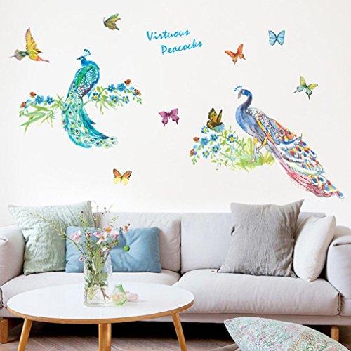 Gocheaper Decor Wall Stickers,Room Art Wall Decal DIY Peacocks Removable Mural