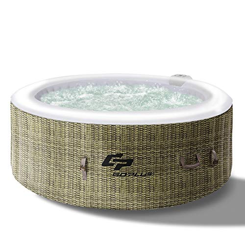 Goplus 4-6 Person Outdoor Spa Inflatable Hot Tub for Portable Jets Bubble Massage Relaxing with Accessories Set (4-Person, Coffee)
