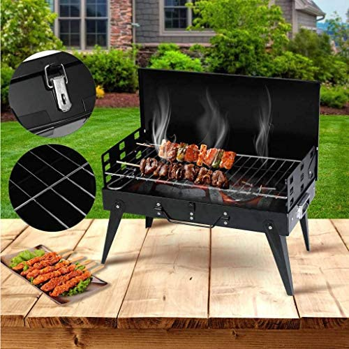 LHY DECORATION Portable Pliable Barbecue Grill Charbon Barbecue Camping Grill en Plein Air Camping Party Pique-Nique Barbecue Accessoires avec Poignées, Noir