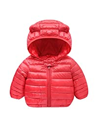 QZBAOSHU 0-2 Year Old Infant and Toddler Baby Boys Girls Winter Warm Cotton Coats Jacket Outerwear (Red, 73: fit for Baby Height 55-65 cm)