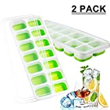 Ice Cube Trays with Spill-Resistant Lid, Easy-Release Ice Cube Molds,14-Silicone Ice Trays Can Make 28 Ice Cubes, BPA Free Nontoxic and Safe, Easily Stacked Durable and Dishwasher Safe(2 Pack)