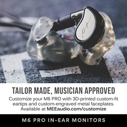 MEE audio M6 PRO second Generation Musicians' in-Ear Monitors Wired + Wireless Combo Pack: Includes Stereo Audio Cable and Bluetooth Audio Adapter (Clear)