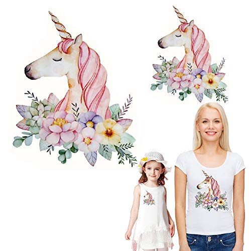 (Unicorn Iron on Patches Heat Transfer Stickers Flowers Decals Unicorns Appliques for Women Girls Men T-Shirt Jeans Families Clothing DIY Patches 2PCS (Small and Big Parent Child))