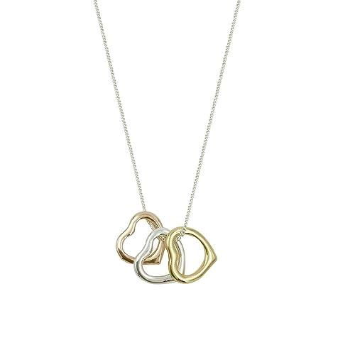 Bellamira Triple – Collana con ciondolo a forma di cuore in oro rosa rodio  placcato oro 7339ecd8c124