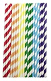 AKORD 150 Pack Paper Drinking Straws Candy Series for Everyday, Party, Wedding, Celebration (Rainbow)