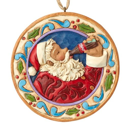 Department56 Enesco 0.45 Inches Height x Width x 3.1 Inches Length Santa Disk Decorative Hanging Ornament x x, Multicolor]()
