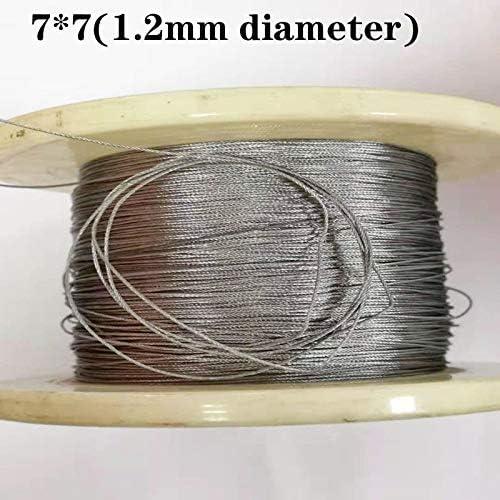 Without brand 100M 304 1,2mm Durchmesser Edelstahl-Drahtseil-Kabel Weichere Angeln Hubseil 7X7 Struktur 1,2mm Durchmesser (Größe : 1.2mm 100M)
