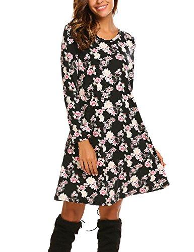 ACEVOG Womens Crewneck Long Sleeve Print Floral A-Line Tunic Dress
