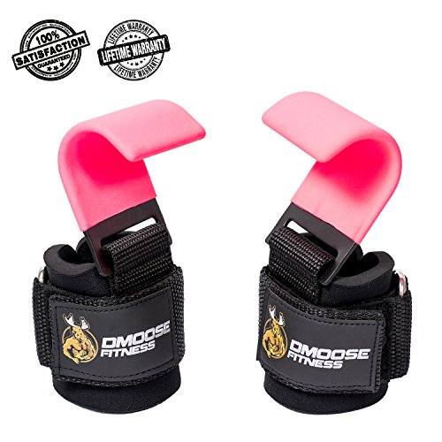 Weight Lifting Hooks Grip by DMoose Fitness (Pair) - 8 mm Thick Padded Neoprene, Double Stitching, Non-Slip Resistant Coating – Secure Your Grip and Reach Your Goals with Premium Workout Hook Gloves (Pro Leather Stock)