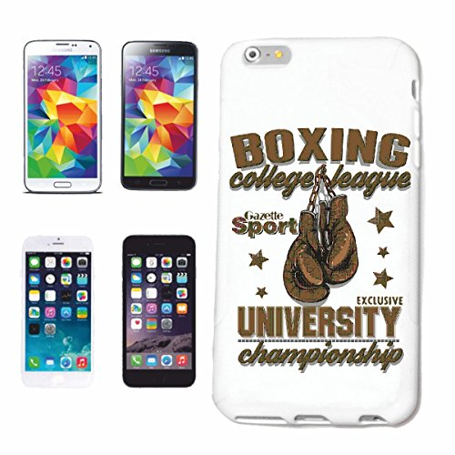 "cas de téléphone iPhone 7+ Plus ""BOXE COLLEGE LEAGUE BOXE BOXING CLUB DE BOXE GANTS BOX ROCKY STALLONE SPARRING BOXER"" Hard Case Cover Téléphone Covers Smart Cover pour Apple iPhone en blanc"