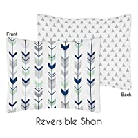 Sweet Jojo Designs Standard Pillow Sham for Grey, Navy Blue and Mint Woodland...