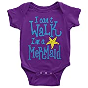 Threadrock Baby Girls' I Can't Walk I'm A Mermaid Infant Bodysuit 6 Months Purple