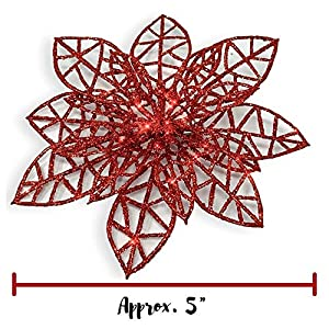 BANBERRY DESIGNS Poinsettia Ornaments - Holiday Decorations - Artificial Poinsettia Ornaments 4