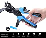 #2: WoneNice Revolving Leather Hole Punches -2 Years Warranty -Professional Heavy Duty Belt Hole Puncher Tool - Easily Punches Perfect Round Holes in 2.0 mm- 4.5 mm