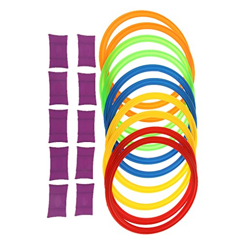Dovewill 11.6inch Diameter 10 Rings & 10 Ring Clips Twister Hopscotch Games Indoor/Outdoor Play for Kids Exercising Imagination Play Toys by Dovewill