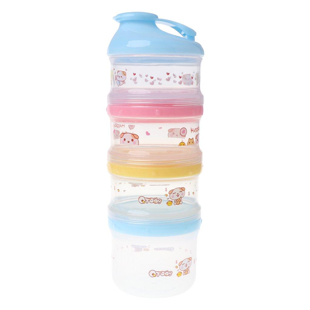 Cuigu 4 Schicht Milchpulver-Behälter,Tragbare Formel Für Die Aufbewahrung Von Lebensmitteln - Versiegelt (Blau)