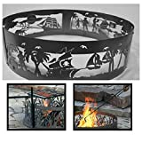 PD Metals Steel Campfire Fire Ring Pirates Life Design - Unpainted - with Fire Poker and Cooking Grill - Large 48 d x 12 h Plus Free eGuide