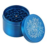 weed grinder with design - DCOU New Design Premium Zinc Alloy Herb Tobacco Weed Grinder 2.2 Inches 4 Piece Metal Grinder with Pollen Catcher with Laser Flower Pattern Blue