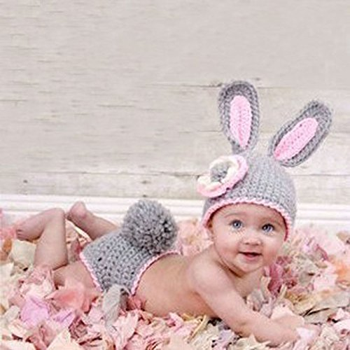 Newborn Baby Girl/Boy Crochet Knit Costume Photo Photography Prop Hats Outfits (Grey