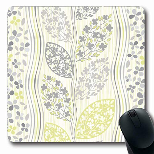 (Ahawoso Mousepads Blooming Gray Floral Pattern Abstract Branches Set Green Flower Leaf Modern Stripes Branch Oblong Shape 7.9 x 9.5 Inches Non-Slip Gaming Mouse Pad Rubber Oblong Mat )