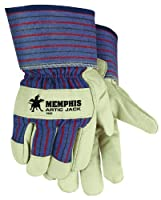MCR Safety 1965M Artic Jack Grain Pigskin Leather Thermosock Lined Men's Gloves with 2-1/2-Inch Safety Cuff, Cream/Blue, Medium, 1-Pair
