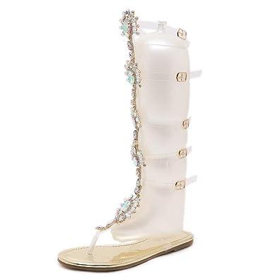 22444ca96 Dear Time Women Gladiator Flats Sandals Summer Rhinestone Ankle Strap  Buckle Transparent Strip Knee-High