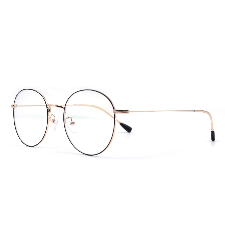 HKUCO Black//Gold Metal Frame Clear Lens Eyewear Glasses