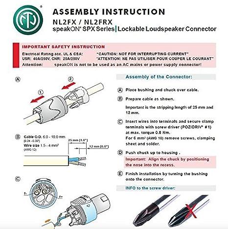 amazon com neutrik (2 nl2mp, 2 nl2fx) chassis mount solder, 2 pole 5 pin  xlr connector wiring diagram speakon jack wiring