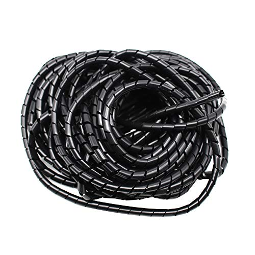 Eowpower 1/4'' PE Polyethylene Spiral Wire Wrap Tube Band for TV PC Car Cinema Computer Cable (Dia 6mm - Length 21m) (Wrap 1/4' Spiral)
