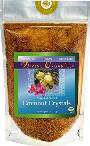Divine Crystal - Organic Coconut Sugar Crystals 8oz - Divine Organics - LOW GLYCEMIC Sugar Replacement Sweetener