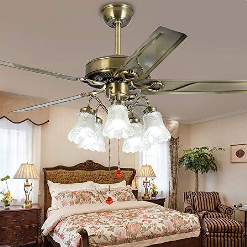 Le Fan Luxury Metal 5 Blades Pull Switch Ceiling Fan Light 52 Inch Restaurant Living Room Home European Style Leaf Fan Light Retro Chandelier (Bronze) -