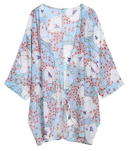 OLRAIN Women's Floral Print Sheer Chiffon Loose Kimono Cardigan Capes (XX-Large, Light Blue)
