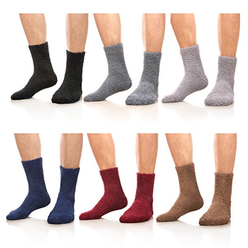 AOXION Mens 6 Pack Soft Fuzzy Warm Comfort Winter Home Floor Slipper Socks (6 Pairs Solid Color) - Fuzzy Socks Men