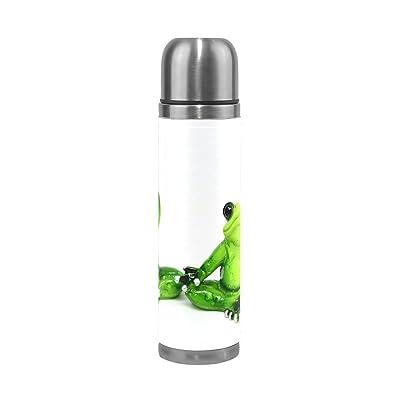 Isaoa 500ml Boisson Bouteille thermos en acier inoxydable Bouteille d'eau grenouilles Yoga Isolation sous vide Thermos anti-fuites à double paroi isotherme pour l'intérieur Sports de plein air randonn&eacu