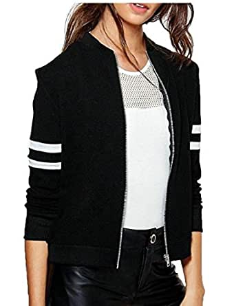 omniscient Womens Biker Quilted Lightweight Coats Bomber Jacket Black XS