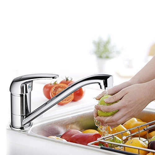 JOMOO Deck Mounted Single Handle Chateau Low Arc Kitchen Sink Faucets Without Side Spray Single Hole Chateau Bathroom Faucet 8'' Spout Reach,Chrome Finish by JOMOO