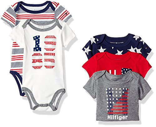 Tommy Hilfiger Baby Boys' Short Sleeved Striped and Solid Bodysuits, Gray/Red, 3-6 Months (Pack of 5)