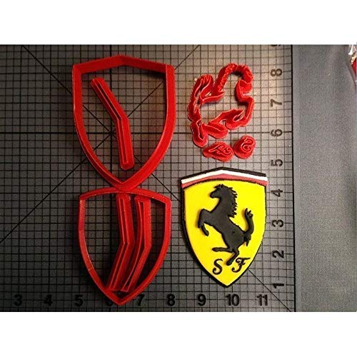 1 Set Ferrari Horse Logo Cookie Cutter Custom Made 3D Printed Fondant Cupcake Top Mould Ferrari Cookie Cutter Set Cake Decoration Tool ()