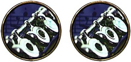 GiftJewelryShop Gold Plated Flute Music Photo Stud Earrings 12mm Diameter