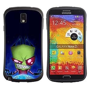 "Pulsar iFace Series Tpu silicona Carcasa Funda Case para Samsung Note 3 , Monstruo Verde Evil Ufo Villano extranjero Planeta Tierra"""