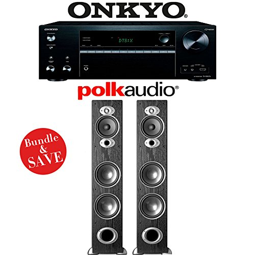 Onkyo TX-NR676 7.2-Channel 4K Network A/V Receiver +  Pair of Polk Audio RTI A7 High Performance Floorstanding Loudspeakers - Bundle