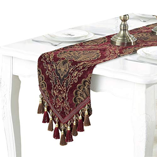 (ZebraSmile Multi-Tassels Luxury Heavy Chenille Fabric with Rustic Cotton Burlap Back Damask Floral Table Runner and Dresser Scarves for Dining Table Decoration Home Dinner Decor Burgundy 13x62 inch)