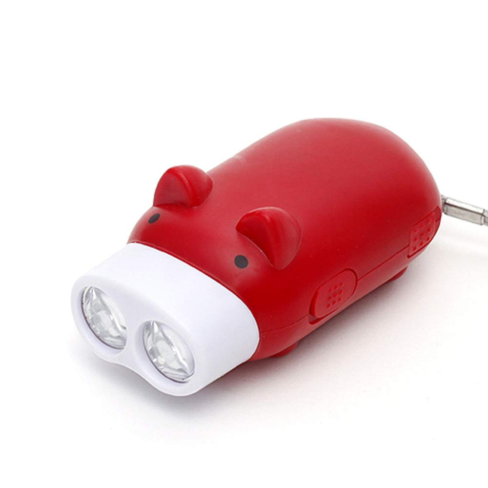Fun Mini Pig 2 LED Flashlight Hand Pressing Self-Powered No Battery